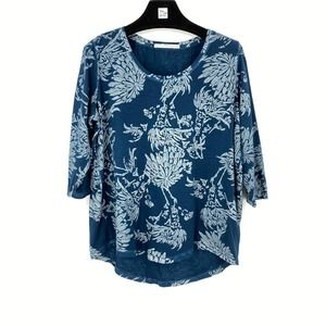 Peruvian Connection Blue Hand Painted Floral Top M